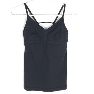 Lululemon Top Black Tank Strappy Cage Back Fitted
